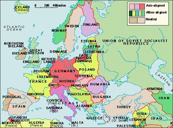 Map of Europe durinig WWII | World War II